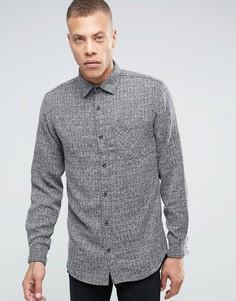 ADPT Shirt with Pocket in Hatched Fabric Detail - Черный
