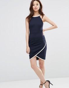 Платье с запахом на юбке Wal G - Темно-синий
