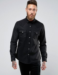 Шерстяная рубашка в стиле вестерн ASOS - Черный