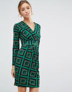 Платье с длинными рукавами и геометрическим принтом Closet - Зеленый