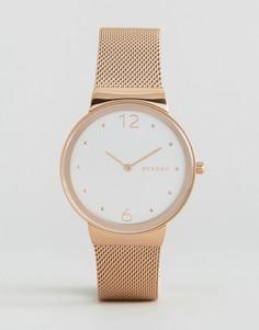 Часы цвета розового золота с сетчатым браслетом Skagen Freja SKW518 - Золотой