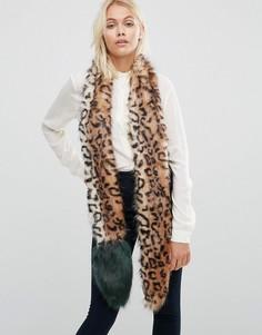 Узкий меховой шарф с леопардовым принтом и контрастным хвостом Urbancode - Коричневый