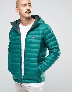 Patagonia Down Sweater Hooded Jacket In Green - Зеленый