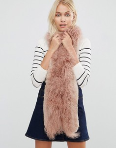 Urbancode Faux Fur Mix Skinny Scarf - Розовый