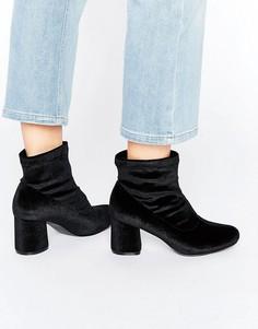 Truffle Round Heel Velvet Ankle Boot - Черный