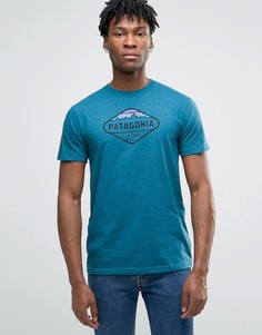Patagonia T-Shirt With Fitz Roy Crest Print In Slim Fit Blue - Синий