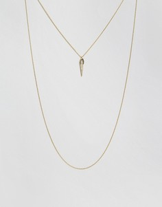 Незамкнутое ожерелье в 2 ряда со стразами Orelia - Золотой