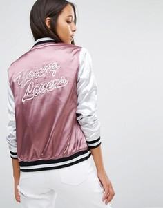 Атласная куртка-пилот с надписью Missguided - Фиолетовый