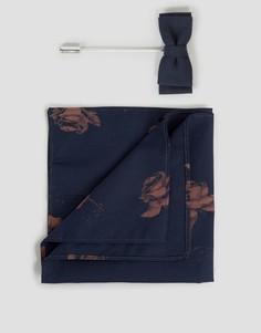 Платок для нагрудного кармана с принтом роз и булавкой для лацкана Devils Advocate - Темно-синий
