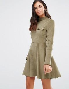Приталенное платье с длинными рукавами Love & Other Things - Зеленый