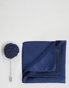 Платок для нагрудного кармана и булавка на лацкан с цветком Devils Advocate - Темно-синий