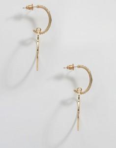 Серьги-кольца с подвесками DesignB - Золотой