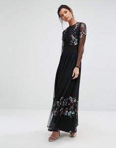 Платье макси с вышивкой и прозрачными рукавами Frock and Frill - Черный