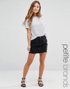 Джинсовая мини-юбка с прорехами Missguided Petite - Черный