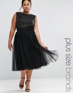 Платье миди с декоративной отделкой и тюлевой юбкой Lovedrobe Luxe - Черный