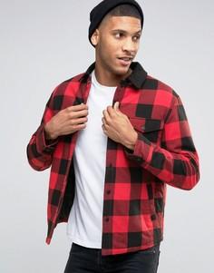 Стеганая куртка в клетку с контрастным воротником Esprit - Красный