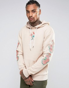 Hype Hoodie With Embroidered Floral Sleeves - Бежевый