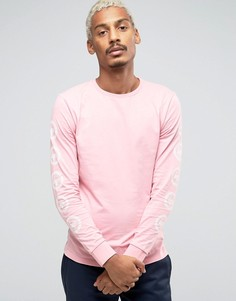 Лонгслив с логотипом на рукавах Hype - Розовый