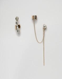 Набор из каффа и серьги с камнями Johnny Loves Rosie Rita - Прозрачный