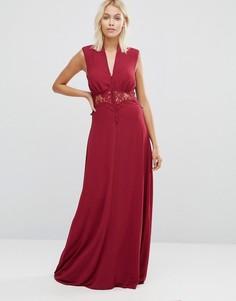 Платье макси со вставкой-кроше Jarlo Vicky - Красный