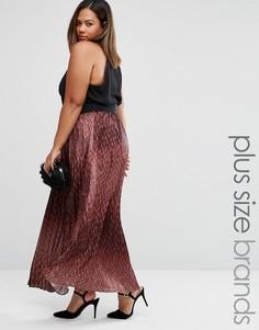 Плиссированная юбка со змеиным принтом Elvi Plus - Коричневый