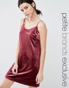 Бархатное платье-сорочка мини One Day Petite - Розовый