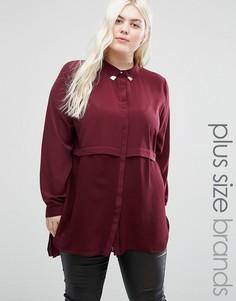 Двуслойная рубашка с уголками на воротнике Elvi Plus - Красный