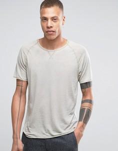 Oversize-футболка с выжженным эффектом Selected - Кремовый