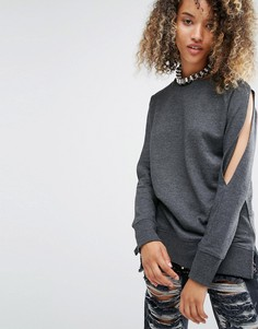 Удлиненный топ с вырезами на плечах и разрезами на рукавах Daisy Street - Серый