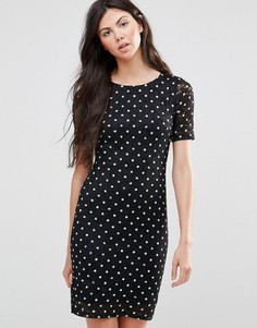 Кружевное платье в горошек Yumi - Черный