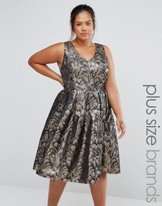 Chi Chi London Plus Metallic Jacquard Prom Dress - Золотой