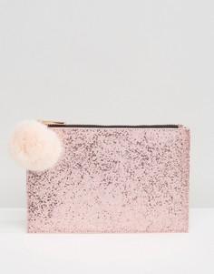 Золотисто-розовая блестящая сумочка с помпоном Skinnydip - Розовый