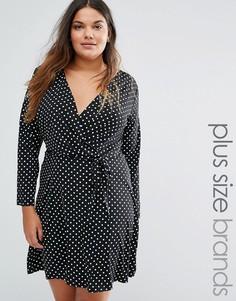 Платье в горошек с запахом Yumi Plus - Черный