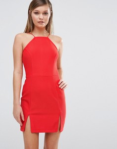 Платье со спинкой-борцовкой и разрезом спереди Rare - Красный