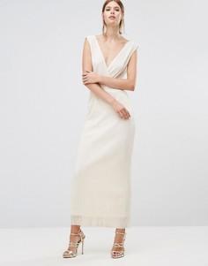 Плиссированное платье макси Oh My Love - Кремовый