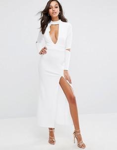 Платье макси с декольте и боковым разрезом Boohoo - Белый