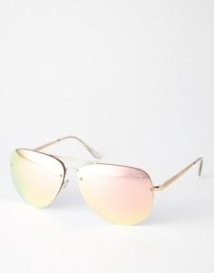 Большие розовые солнцезащитные очки‑авиаторы с зеркальными стеклами Quay Australia x Amanda Steele Muse - Розовый
