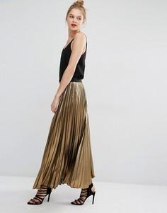 Золотистая юбка макси со складками BCBG Max Azria Dallin - Золотой