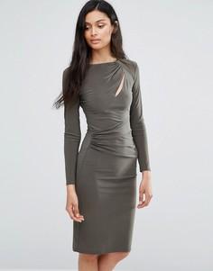 Платье с длинными рукавами и вырезом Love - Зеленый