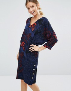 Платье с пуговицами и цветочным принтом Closet - Синий