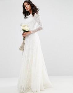 Платье макси с длинным рукавом и отделкой ASOS BRIDAL - Белый