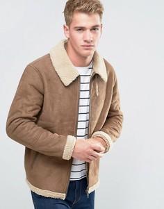 Куртка-пилот с воротником борг Threadbare - Коричневый
