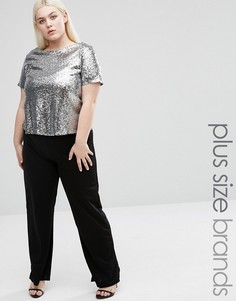 Club L Plus Straight Leg Jumpsuit With Sequin Top - Серебряный