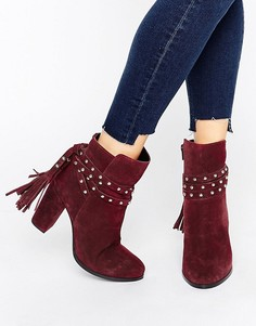 Faith Bethany Tie Back Heeled Ankle Boots - Красный
