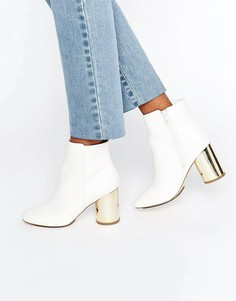 London Rebel Round Heel Boot with Gold Mirror Heel - Белый