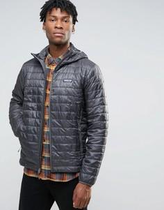 Серая дутая куртка с капюшоном Patagonia Nano - Серый