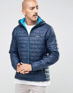 Темно-синяя дутая куртка с капюшоном Patagonia Nano - Темно-синий