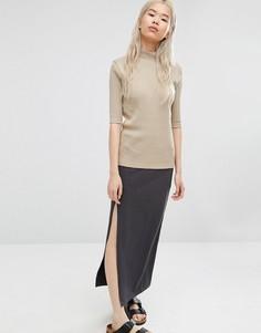 ADPT Maxi Skirt With Asymmetric Side Slit - Серый