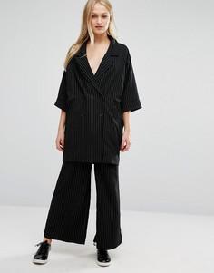 Monki Wide Leg Pin Stripe Trousers - Черный