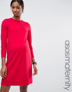 Цельнокройное платье для беременных из понте с рукавами 3/4 ASOS Maternity - Красный